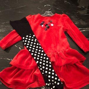 Red Velour dress, Gymboree 18-24 mos.